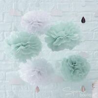 MINT GREEN/WHITE TISSUE POM POMS x5-Unisex Baby Shower Party Hanging Decorations