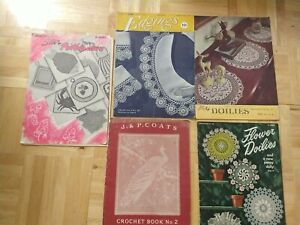five Vintage Crochet And Tatting Books, 1940's
