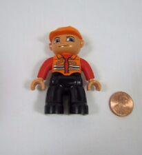 "LEGO DUPLO MAN CONSTRUCTION WORKER in ORANGE VEST & CAP 2.5"" FIGURE Rare #2"