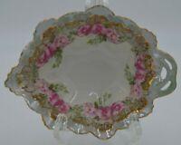 Antique MZ Austria Porcelain Iridescent Handled Nappy Trinket Leaf Shape Dish