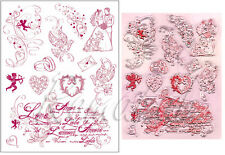 TIMBRI TRASPARENTI in silicone a tema amore matrimonio Clear Stamp SCRAPBOOKING