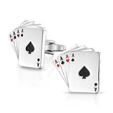 4 Ace Cufflinks Mens Business Shirt Sleeve Cuff Link Work - In Gift Box! UK