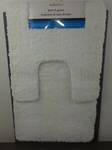 Mainstays 2 Piece Bathroom Rug Set White with Skid-resistant Backing