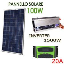 Kit Fotovoltaico 1 Kw Giornaliero Pwm Inverter 1500w Isola Solare Pannello 100 W