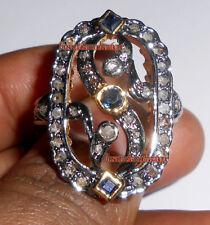 Amazing Hand-Made Sapphire Wedding Ring Natural 0.74ct Antique Rose Cut Diamond