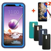 For LG Stylo 5 / 4 Plus Shockproof Hybrid Armor Phone Case Cover+Tempered Glass