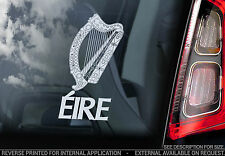 Eire - Car Window Sticker - Ireland Celtic Harp Irish Decal Sign Rugby - V01
