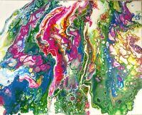 Magenta over Blue Splash, original art abstract acrylic painting
