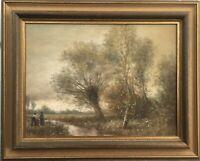 Impressionist Rolf Hank 1939-2008 Idyllische Landschaft mit Personen 41 x 51 cm