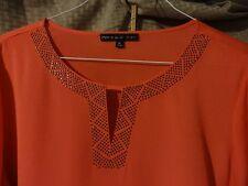 Red Womens Blouse XL PRESTON YORK Womens Studs V Slit Neckline Shirt Shirttail