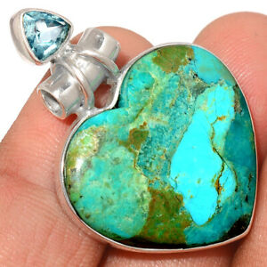 Blue Mohave Turquoise - Arizona & Blue Topaz 925 Silver Pendant Jewelry AP229064