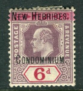 NEW HEBRIDES; Early 1900s Ed VII Optd. issue Mint hinged 6d. value