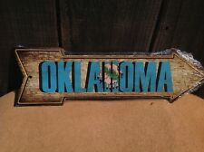 """Oklahoma State Flag This Way To Arrow Sign Directional Novelty Metal 17"""" x 5"""""""