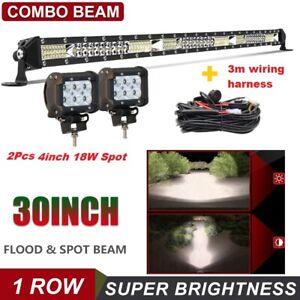 """30INCH 1200W +2X 4"""" Spot Pods light  LED LIGHT BAR COMBO FOR OFFROAD TRUCK ATV"""