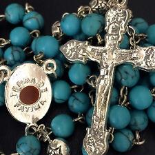 Turquoise & SILVER ROSE BEADS RELIC ROSARY CROSS CRUCIFIX CATHOLIC NECKLACE BOX