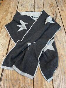 Fabulous Super Soft Dark & Light Grey Star Intarsia Long Knitted SCARF
