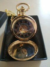 Gold Colour Half Hunter Pocket Watch With Chain