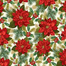 Fabric #2497 Large Red Poinsettias on Cream, Gold Metallic, Sold by 1/2 Yard
