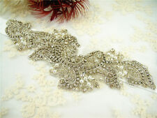 Gorgeous Diamante Motif Beaded Bridal Applique Rhinestone Pearl Wedding Applique