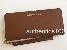 $168 NEW MICHAEL KORS JET SET TRAVEL CONTINENTAL WALLET WRISTLET LUGGAGE BROWN
