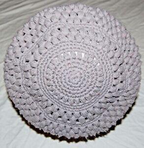 Vintage Hand Crochet Wool Knit Yarn Light Gray Beret Cap Hat Womens Handmade