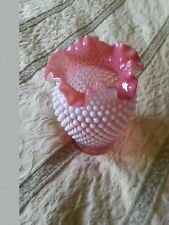 vase  1950 cranberry opalescent hobnail by fenton     no defects