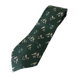 Rare HERMES Paris Silk Tie Green Bird Animal Print Pattern 7593 SA