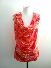 Hot Hues! Diana Ferrari size 14 sleeveless coral top in excellent condition