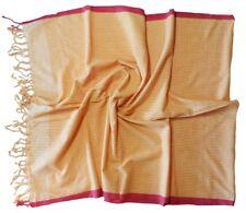 Orange White Raspberry Check Print Long Cotton Scarf (Z386)