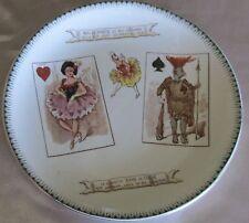 Assiette faïence Choisy-le-Roi fin 19ème Jeux de cartes Dame coeur Roi de pique