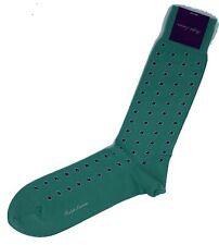 Ralph Lauren Purple Label Cotton and Nylon Socks Dots Green Made in Japan