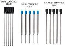 More details for black or blue ballpoint pen refills parker or cross compatible ink refills 8513