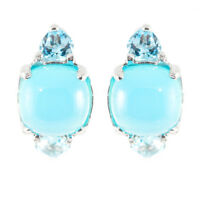EARTH MINED 10MM BLUE CHALCEDONY & SWISS BLUE TOPAZ STERLING SILVER 925 EARRING