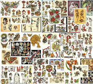 Traditional, Vintage, Old School Style Tattoo Flash Collection, 47 Sheets 11x14