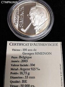 10 EURO ARGENT 2003 BELGIQUE 100 ANS DE GEORGES SIMENON