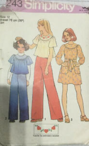 VTG 70s 80s Simplicity Sewing Pattern Girls Dress Or Top & Trousers Age 12