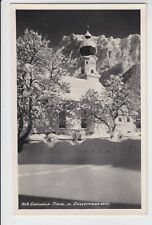 AK Ehrwald, Kirche mit Zugspitzmassiv im Winter 1941 Foto-AK