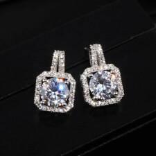 Elegant 925 Silver Stud Earrings for Women White Sapphire Jewelry A Pair/set^