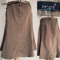 M&S Per Una Brown Grey Cord A-Line Skirt Belt Knee Length Corduroy Plus Size 18