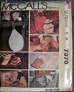 Vintage 1980 McCall's Book & Racket Covers Bags & Bean Bag Toy Pattern #7378