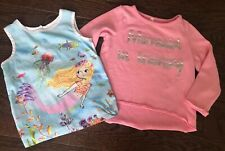 Girls 4 4T Mermaid Tank Sweatshirt Pink Mermaid In Training Set EUC