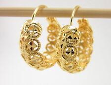BEAUTIFUL DIAMOND-CUT HOOP EARRINGS Thai 22K 18K Yellow Gold GP Jewelry GT15