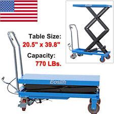 Hydraulic Eoslift Dual Manual Scissor Lift Table Cart Dolly Hand Truck 770lbs