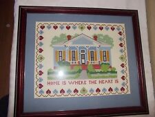 "HANDMADE Cross Stitch Picture in Frame/""Home is where the Heart is""/READY TO HAN"