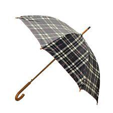 Rainbrella Classic Auto Open Umbrella with Real Wooden Hook Handle, Black Plaid,