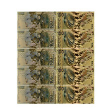 Russian 100 Colorful 24k Gold Banknote Home Decorative World Paper Money 5 Pcs