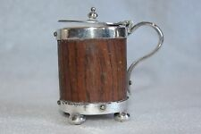 ANTIQUE JUG ?  SILVER PLATE AND WOOD WITH A POTTERY INSERT