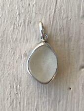 Sterling Silver White Sea Glass Pendant