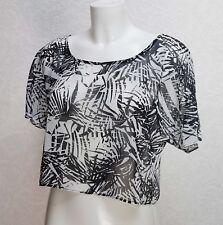 GEORGE black white print Sheer chifon Round neck short sleeve Crop Top blouse 12