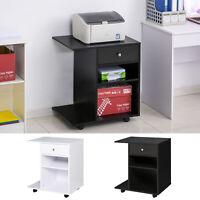 Printer Stand Rolling Cart Desk Side w/ Wheels CPU Stand Drawer Adjustable Shelf